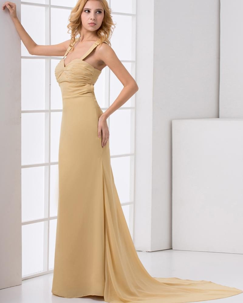 Fashion Chiffon Pleated Shoulder Straps Sleeveless Floor Length Prom Dress