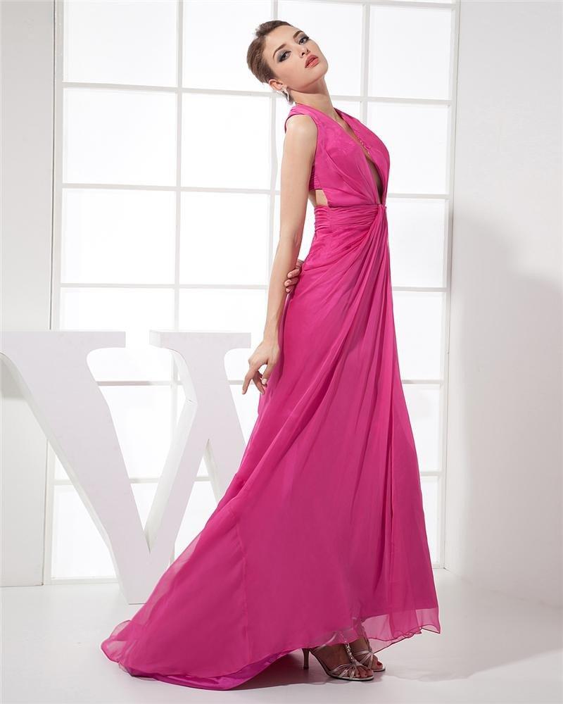 Halter Sleeveless Cross Belt Floor Length Pleated Chiffon Elastic Silk Like Satin Woman Prom Dress