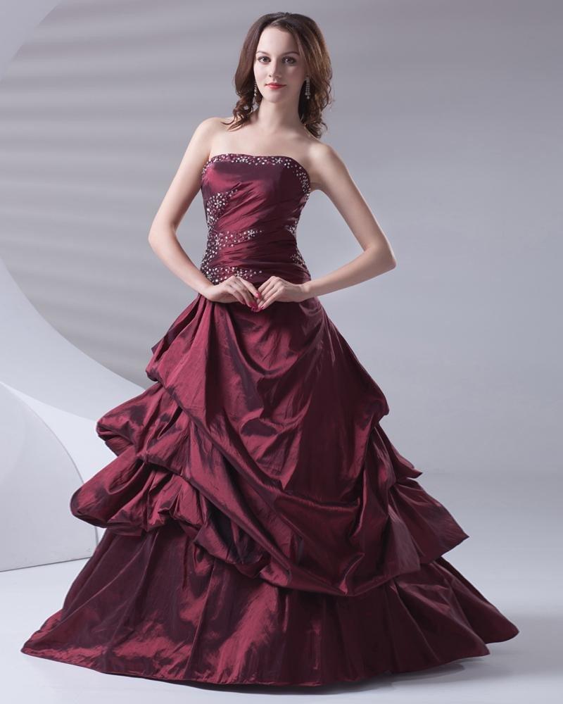 Ball Gown Beading Ruffle Strapless Floor Length Taffeta Women Quinceanera Prom Dress