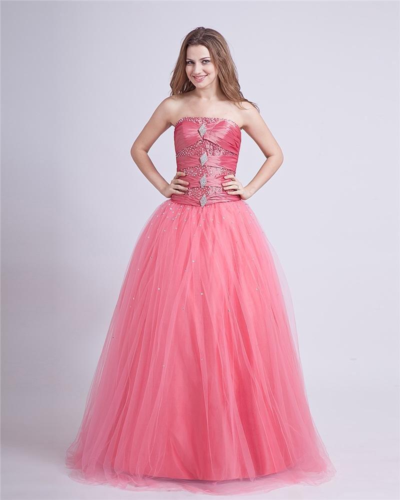 Taffeta Yarn Beading Strapless Floor Length Prom Dresses