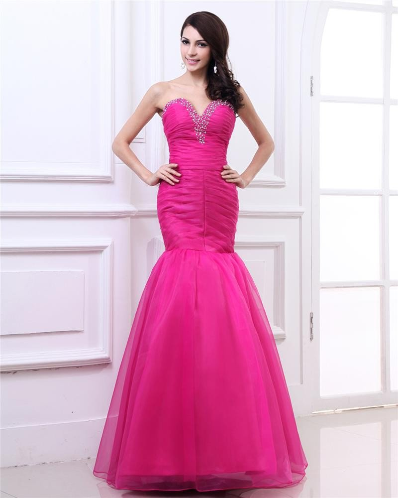 Fashion Sweetheart Floor Length Brush Train Beading Ruffle Organza Mermaid Prom Dress