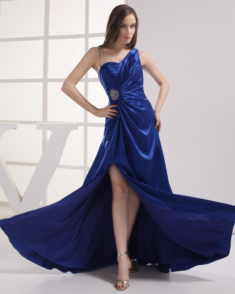Unique Style Floor Length Beading Pleated Imitation Silk Women Prom Dress