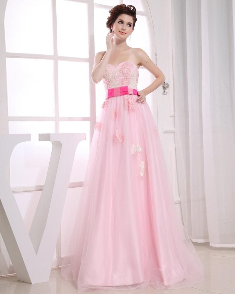Satin Gauze Beading Sweetheart Sleeveless Backless Zipper Floor Length Flower Pleated Prom Dress