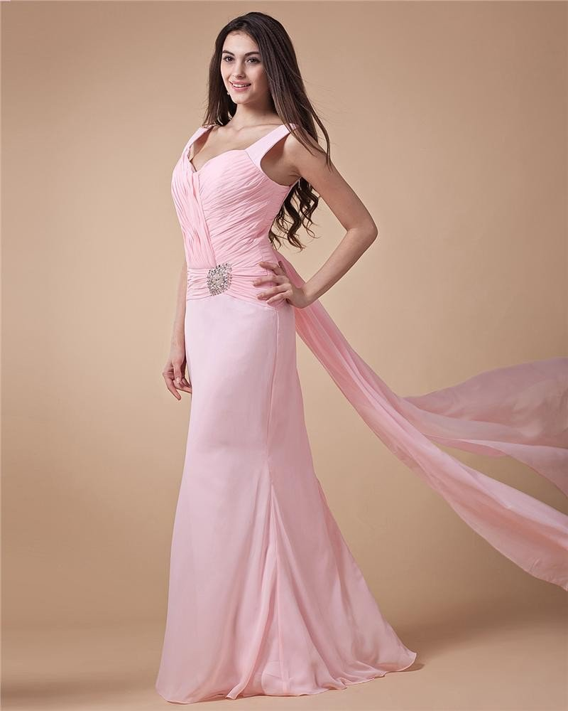 Sweetheart Ruffle Beading Sleeveless Zipper Chiffon Floor Length Woman Prom Dress