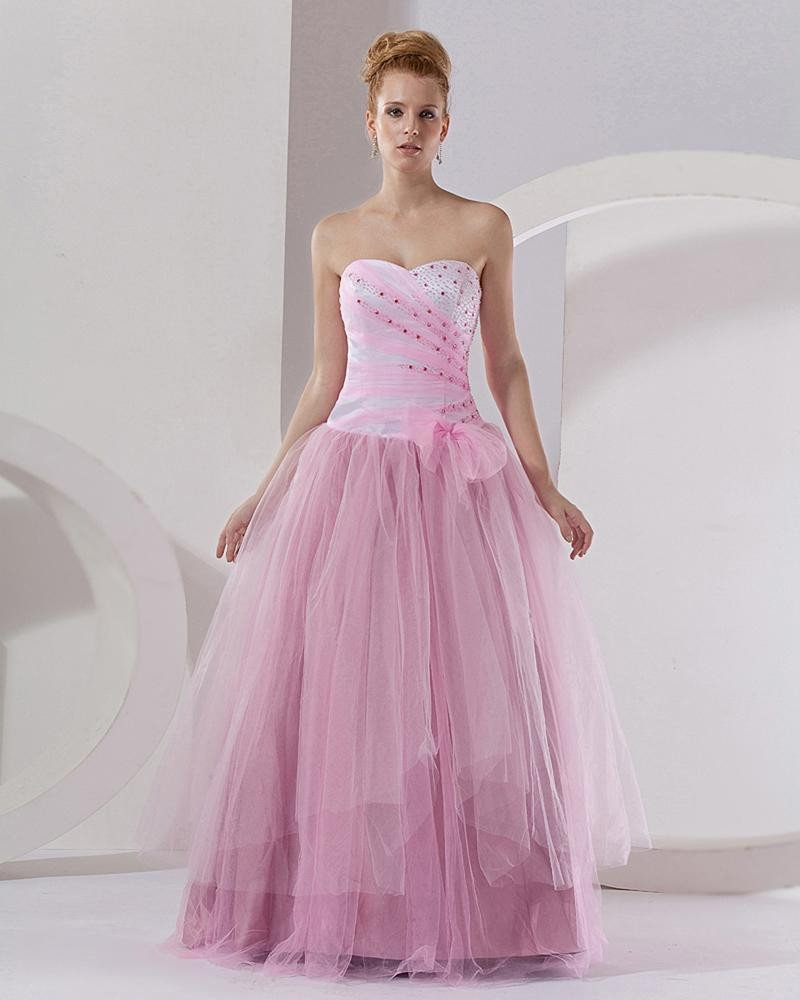 Ball Gown Tulle Satin Embroidery Strapless Floor Length Quinceanera Prom Dresses