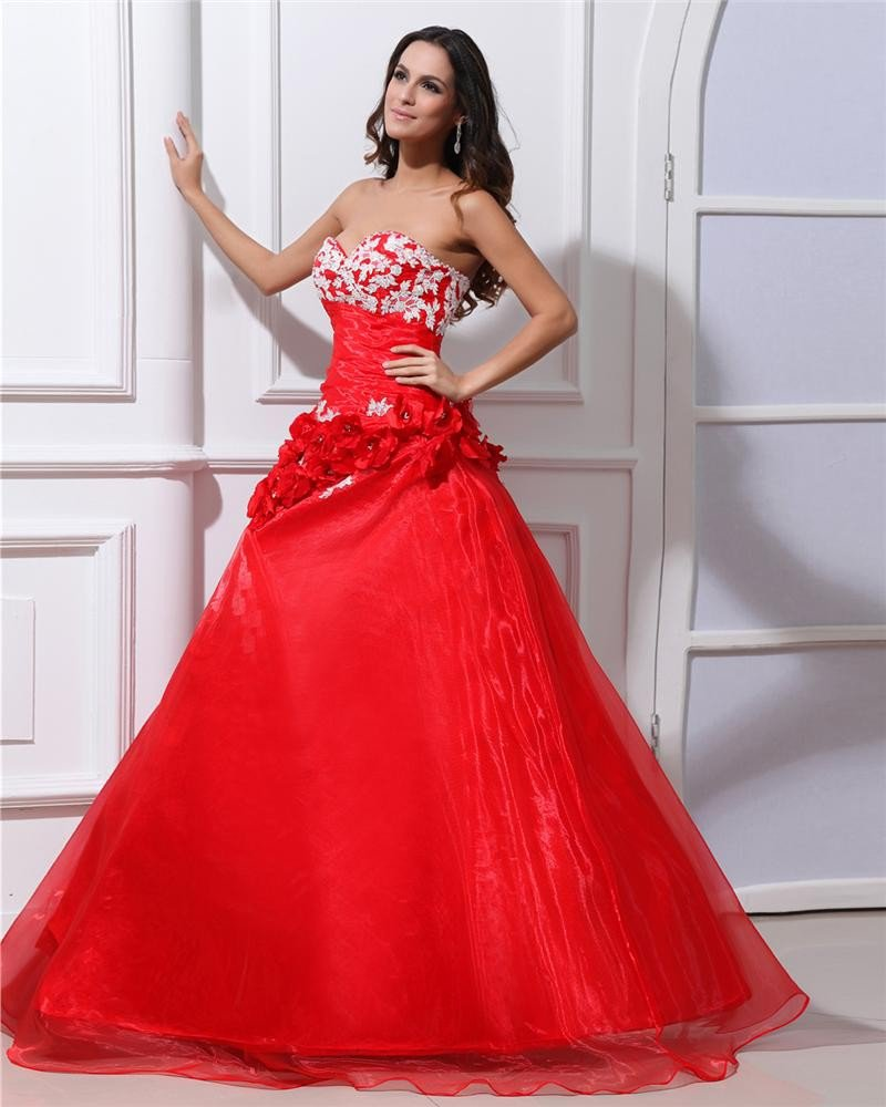Ball Gown Organza Sweetheart Embroidery Bead Handmade Flower Floor Length Quinceanera Prom Dresses