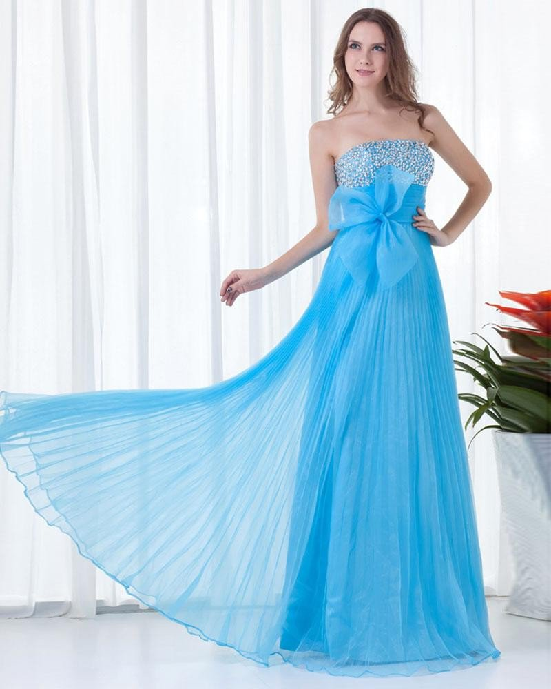 Strapless Flower Beading Floor Length Organza Woman Prom Dress