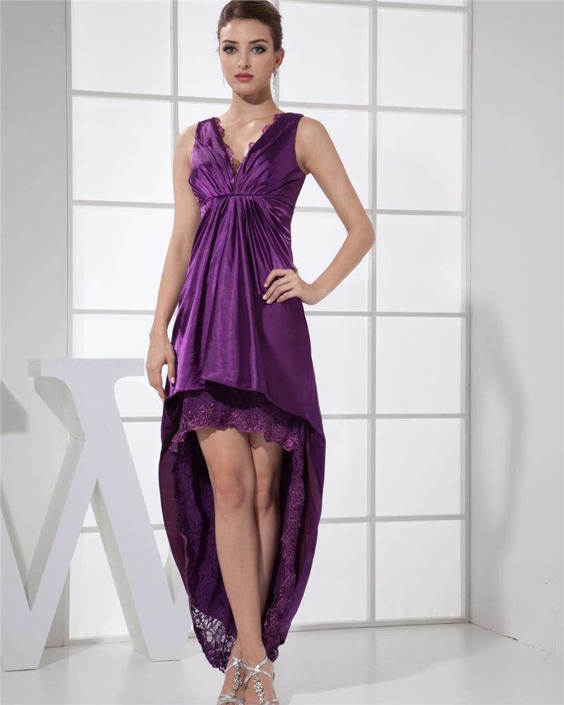 V Neck Sleeveless Zipper Dip Hem Ankle Length Lace Charmeuse Woman Prom Dress