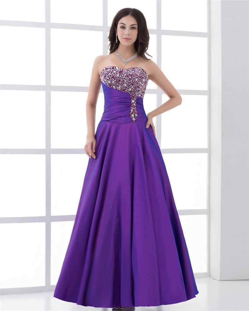 Sweetheart Beading Pleated Floor Length Women Prom Dress