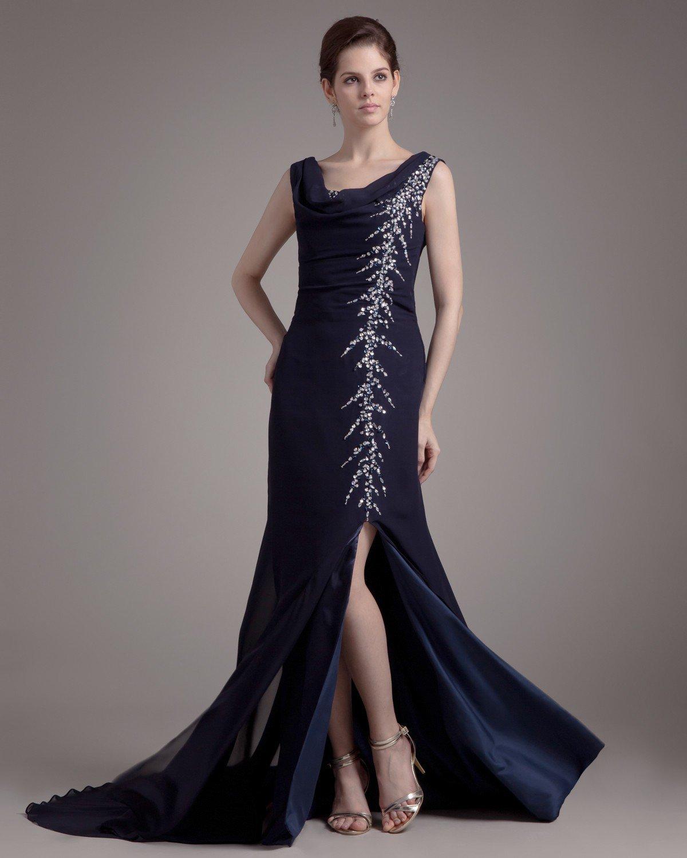 Round Neck Ruffle Beading Floor Length Chiffon Woman Prom Dress