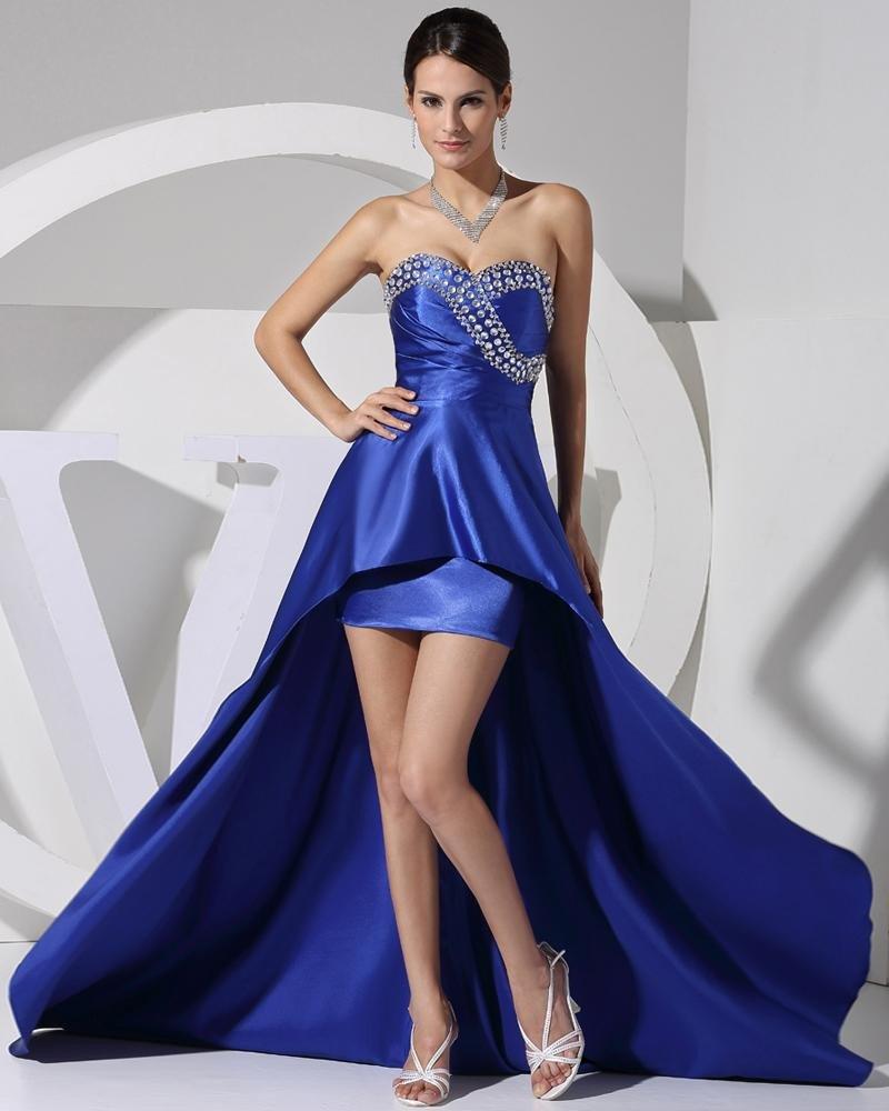 Stylish Solid Charmeuse Silk Sweetheart Beading Sleeveless Backless Asymmetrical Court Train Prom Dr