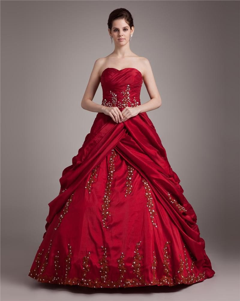 Ball Gown Satin Embroidery Beading Sweetheart Floor Length Quinceanera Prom Dresses