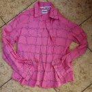 Sz XL Cowgirl Shirt Women's Pink Vine Print Collar Long Sleeve Button Shirt