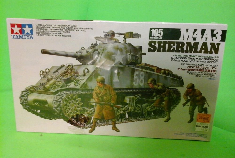 TAMIYA M4A3 Sherman Tank, 105mm Howitzer With Assault Support NEW SEALED