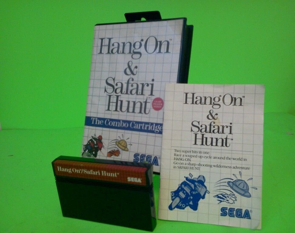 Hang On & Safari Hunt: The Combo Cartridge (Sega Master System, 1986) *Complete*
