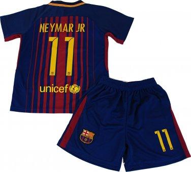 Neymar Jr #11 2017-2018 NEW FC Barcelona Home Jersey & Shorts for Kids