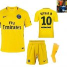 17-18 Neymar Jr # 10 Yellow Paris Saint-Germain Away Jersey with Shorts for Kids/Youth