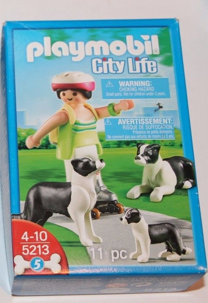Playmobil City Life 5213 Girl Roller Blading W/ Border Collies And Backpack NEW