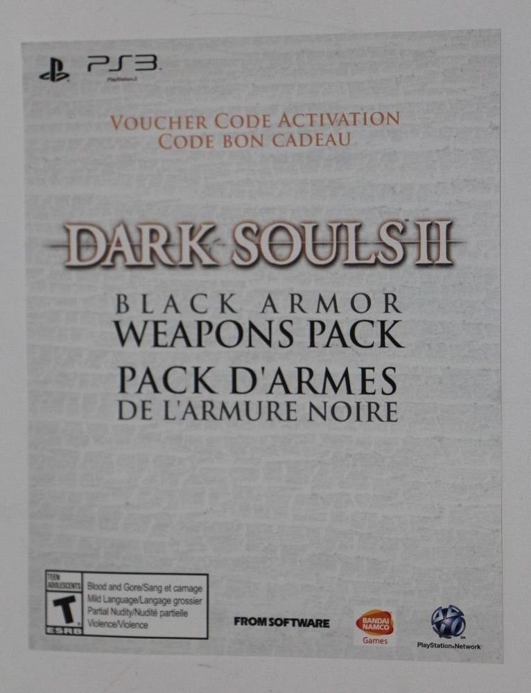 Playstation 3 PS3 Dark Souls II 2: BLACK ARMOR EDITION EXCLUSIVE WEAPON PACK
