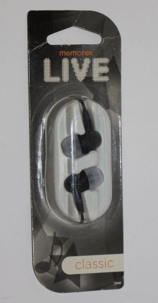Memorex Live Classic EB60 Earbuds Headphones Black and Grey NEW SHIPS SAME DAY