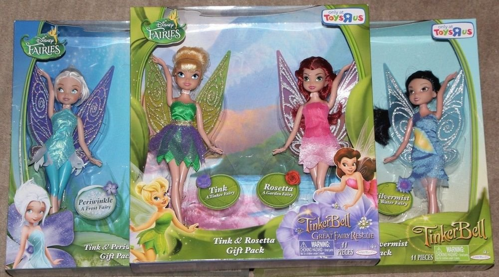 Disney Fairies 6 Fairy Dolls Tinkerbell Silvermist Rosetta Periwinkle 9 inch