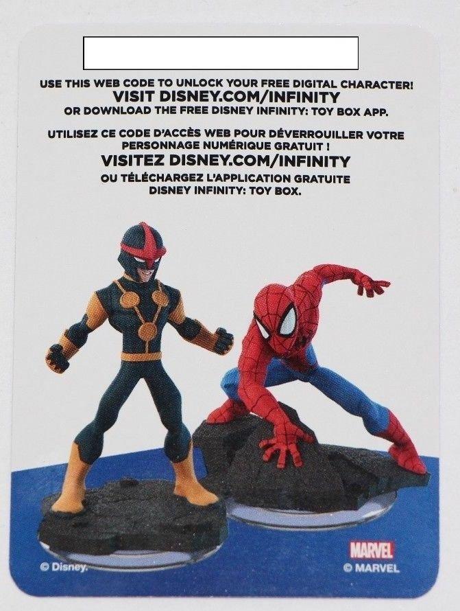 Nova & Spiderman Disney Infinity 2.0 Marvel Heroes Web Code CARD ONLY Spider-Man