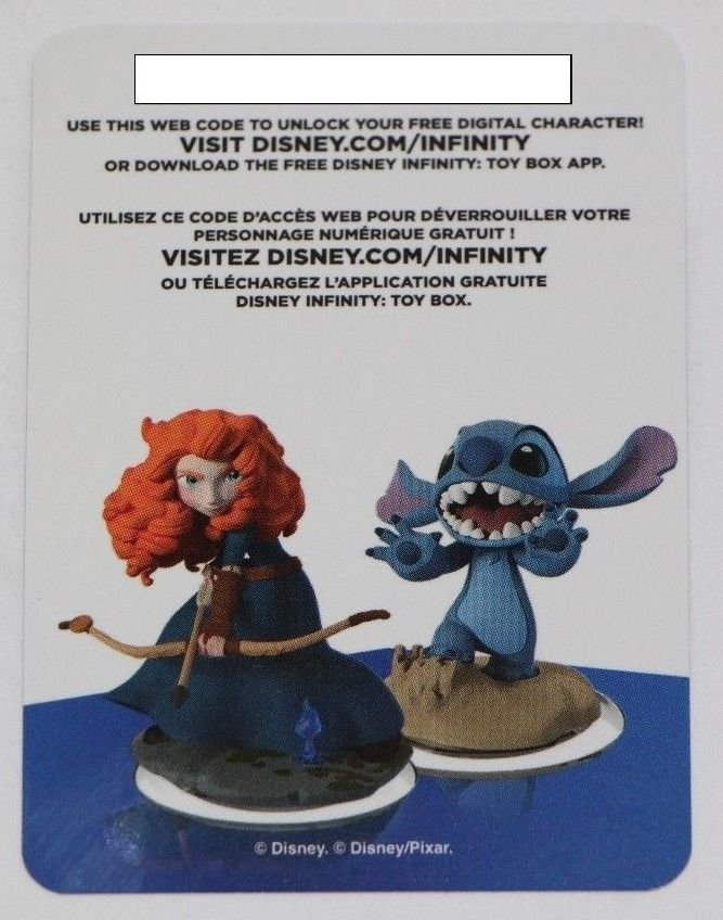 Merida and Stitch Disney Infinity 2.0 Originals Web Code CARD ONLY