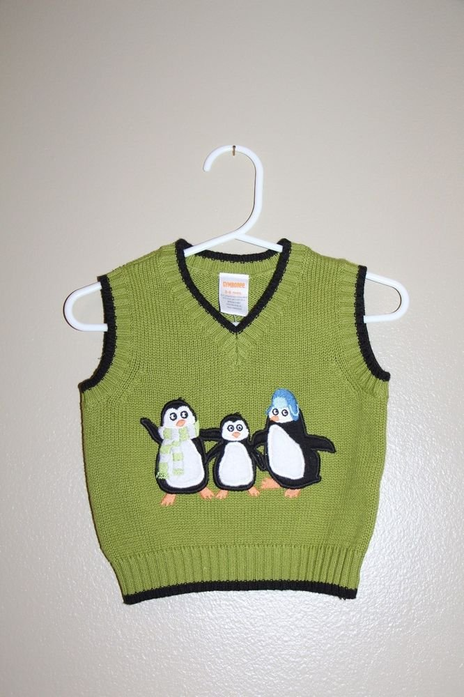 GENUINE Gymboree Knit Embroidered Penguin Sweater Vest Green 3-6 mos baby NWT