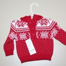 Genuine Gymboree Red/white Joyful Holiday Fair isle Hooded Sweater Hoodie NWT