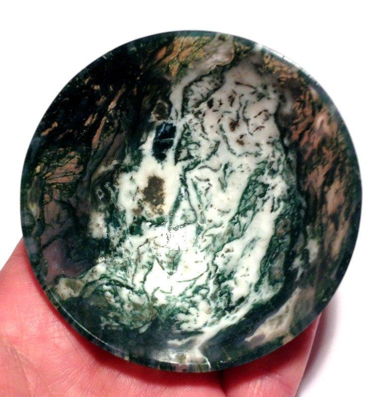 "Healing crystals gemstone bowls Abundance grounding 3.1"" Moss agate Earth energy stone altar bowl"