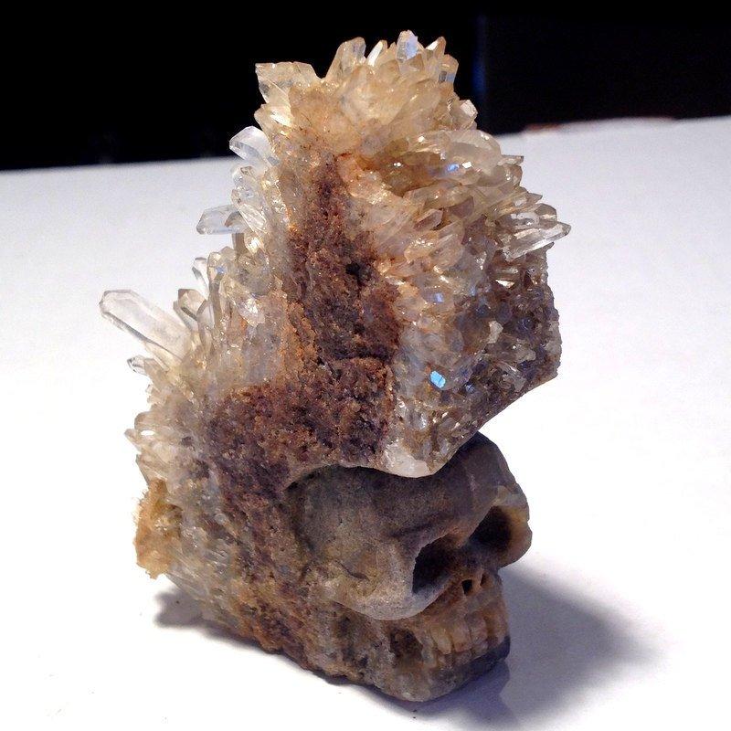 Crystal Skulls Quartz Cluster Citrine Stone Skull Druzy Divination Channeling Prophecy Magick Altar