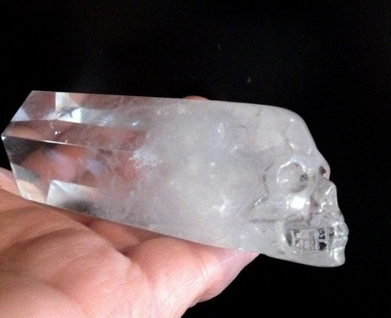 Crystal skulls Clear Quartz Skull Wand Generator Point Divination Magick Psychic Ability Channeling