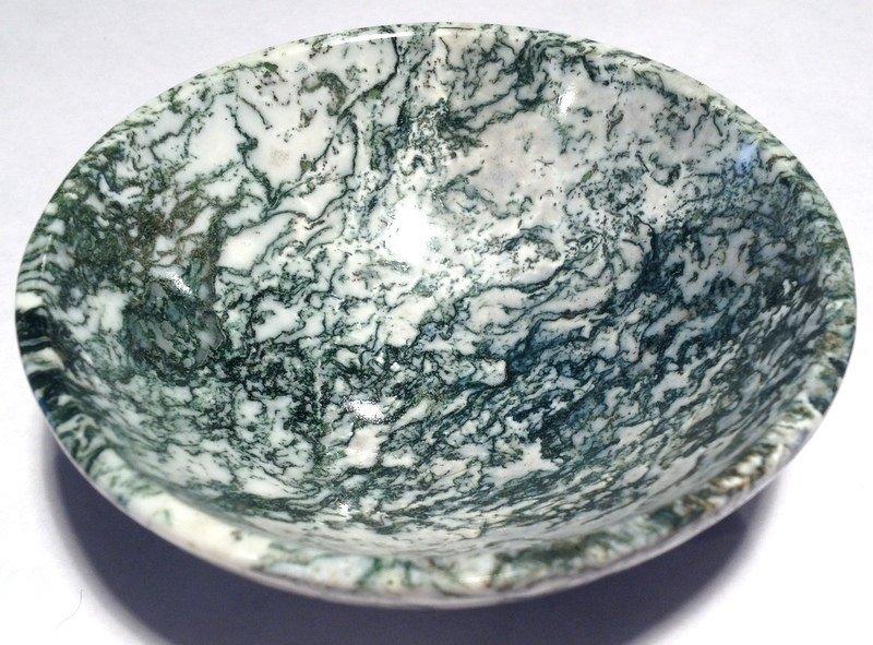 "Gemstone altar Bowls 3.7"" White Dendritic Moss Agate Energy Healing crystals Abundance manifesting"