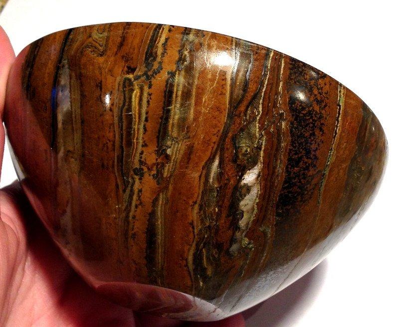 "Earth Energy Healing Crystals 4.25"" Gemstone Bowls Tiger Iron Jasper Stone Altar manifesting bowl"