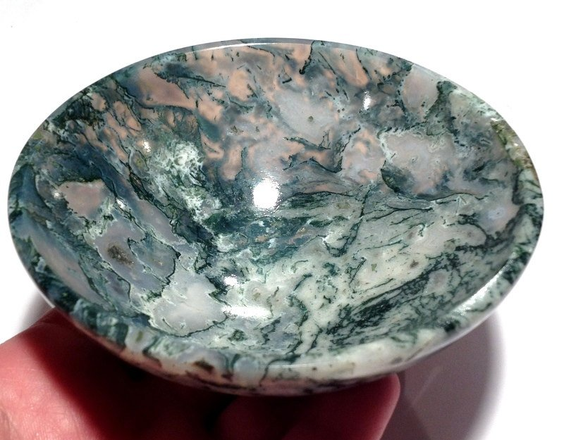 """Healing Crystals Gemstone Bowls 4.25"""" Moss Agate Earth Energy Clearing space Cleansing Altar Magick"""