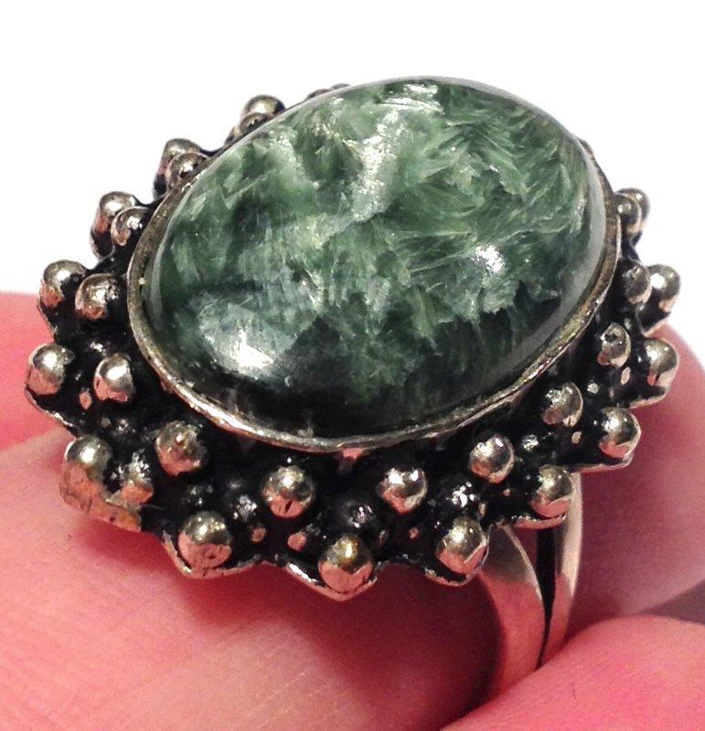 Angel Magick Crystal Healing Rings Archangels Seraphinite Gemstone Sterling Silver Energy Jewelry