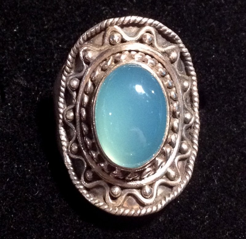 Energy Healing Crystals Programmed Psychic Ability Sterling Silver Ring Angel Blue Chalcedony Magick