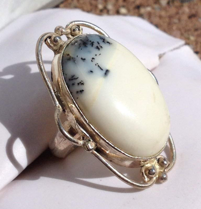 Healing Crystals Merlinite Gemstone Jewelry Sterling Silver Ring Storm Element Energy Magick