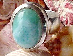 Metaphysical Crystals Larimar Gemstone Sterling Silver Ring Atlantean Dolphin Soul Healing Jewelry