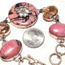 Metaphysical Jewelry Reiki Energy Healing Past Life Crystals Rhodonite Pink Quartz sterling Bracelet