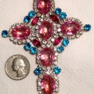 "4.3"" Extra Large Glass Rhinestone Cross Pendant Vintage Religious Christian Jewelry Pink Blue Red"