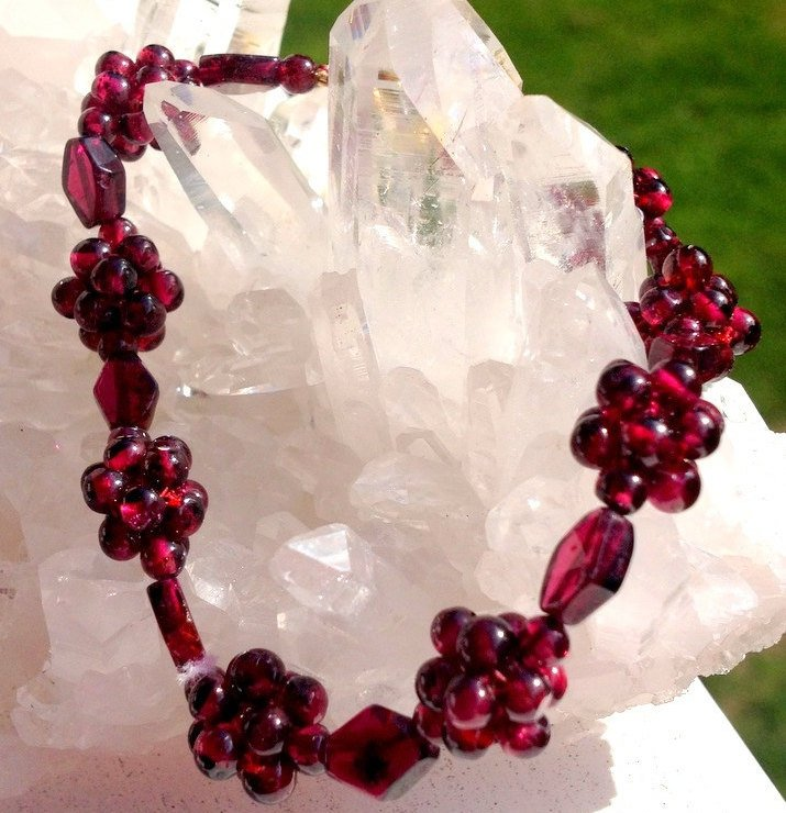 Garnet Gemstone Bracelet Kundalini Root Chakra Metaphysical Power Quartz Crystal healing Jewelry