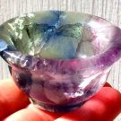 Rainbow Blue Fluorite Attunement Cup Crystal Healing Gemstone Bowl Psychic Ability Spiritual Reiki