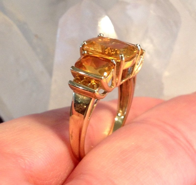 Charmed 10k Gold Honey Citrine Ring Cushion Cut Large Stones size 8