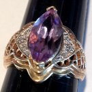 Vintage 10k Gold Large Amethyst Diamond Ring Crystal Healing Intuition Metaphysical Jewelry Size 8