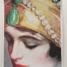 Giclee Fine Art Watercolor Metaphysical Print Full Moon Priestess Art Deco Woman Jeweled