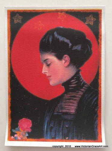 Giclee Fine Art Metaphysical Fantasy Print Full Red Rose