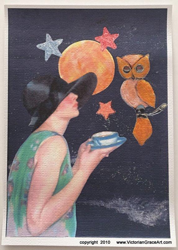 Giclee Fine Art Print Metaphysical Fantasy Deco Full Moon Tea Lady Owl Moonlight Beach Walk