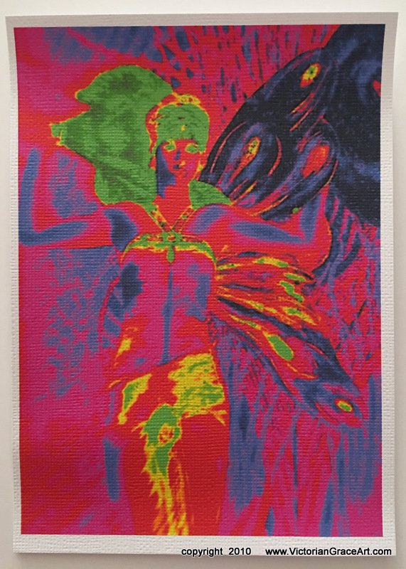 1970's Moon Glow Fairy Giclee Fine Art Print Metaphysical Fantasy Deco Hippie Moonlight Faery