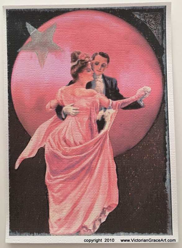 Pink Full Moon Romance Magic Moonlight Dance Giclee Fine Art Print Metaphysical Spiritual Fantasy